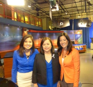 Karen with KITV Morning Show anchors, Cam Tran and Lara Yamada.