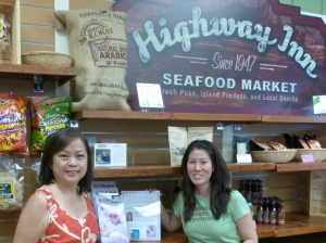 Karen with Highway Inn owner, Monica Toguchi, at the Waipahu restaurant.